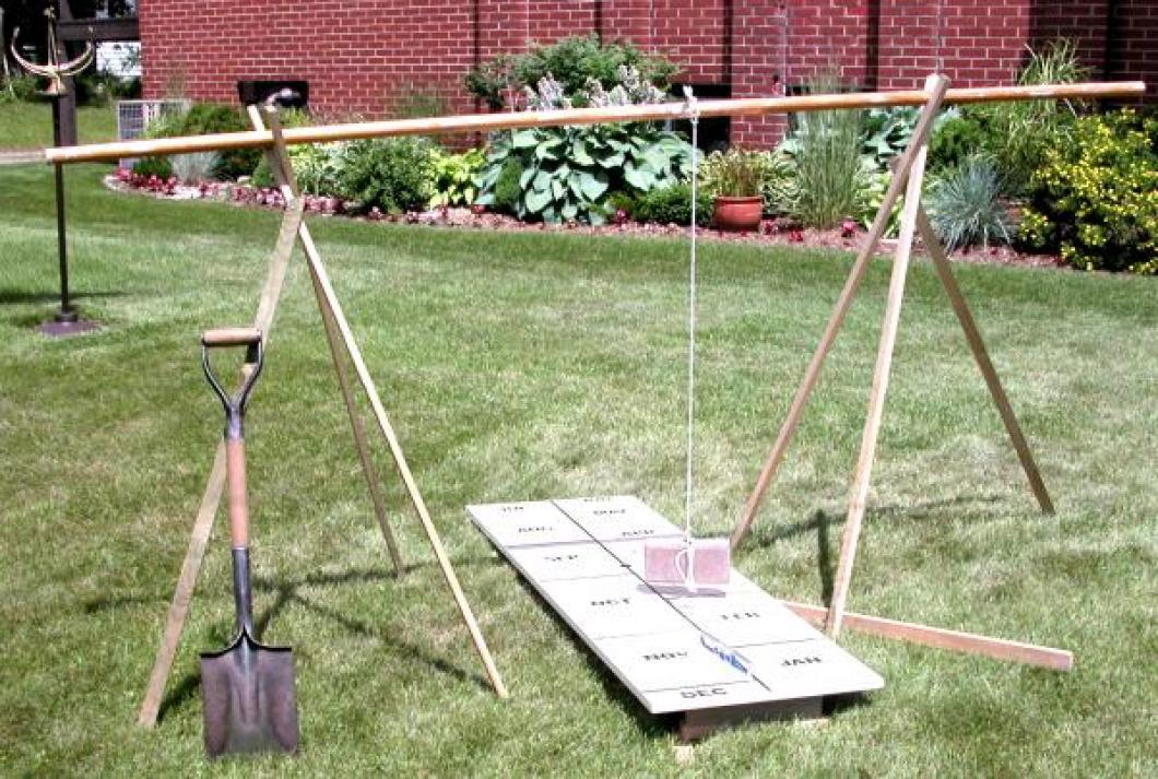 The rig used to align the human sundial centre board in the lawn
