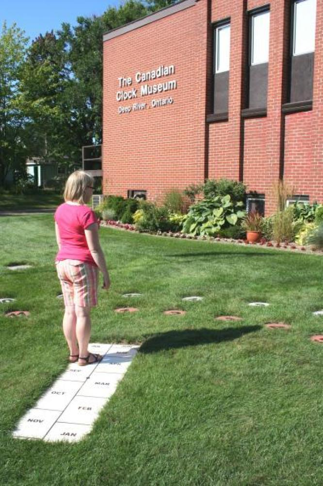 Summer student Michelle testing the new human sundial July 2008