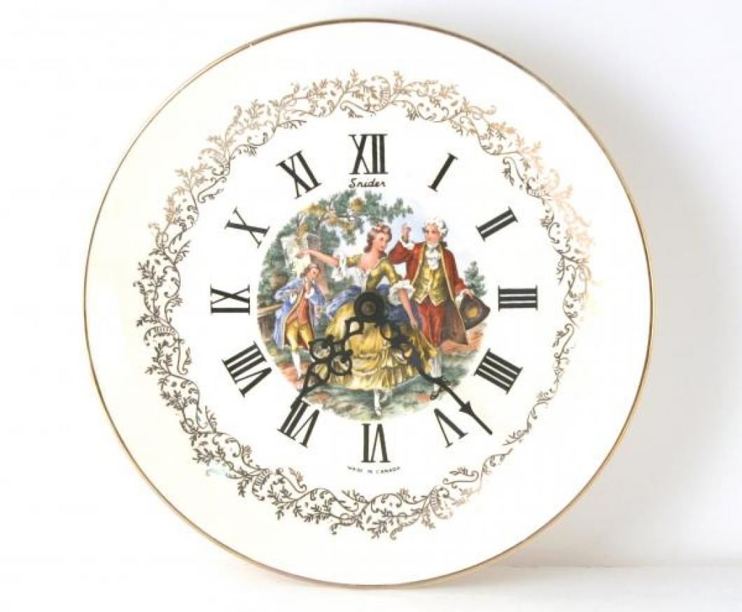 Snider ceramic plate wall clock (ca. 1970, electric)
