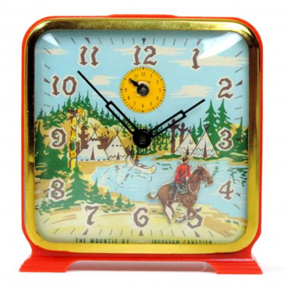 "Ingraham Canadian ""The Mountie"" model animated alarm clock, red plastic case (windup, 1950s, horse gallops)  [made in the Toronto factory for the Canadian market]"