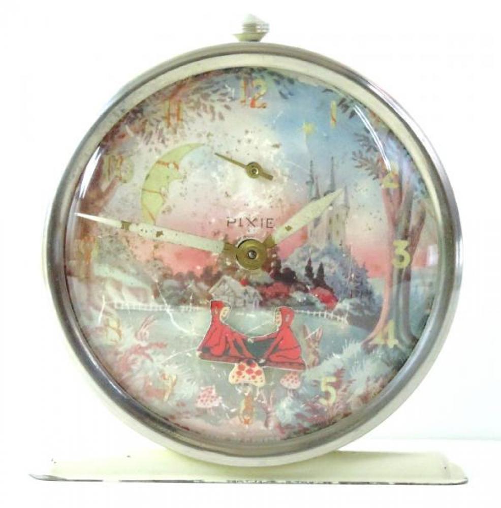 "Westclox ""Pixie"" model animated alarm clock (windup, two pixies on mushroom teeter totter, 1940s?)"