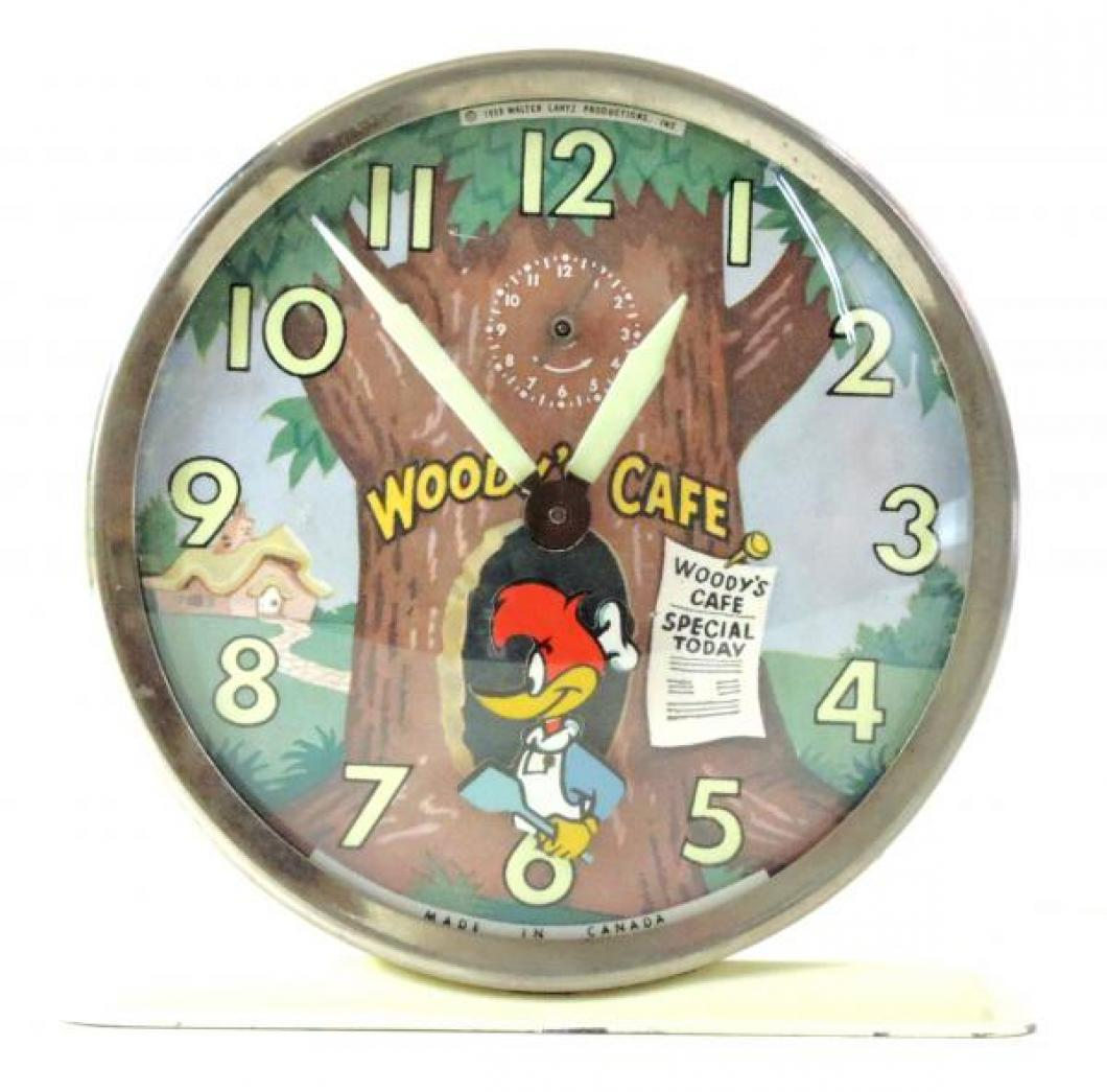 "Westclox ""Woody Woodpecker"" animated alarm clock (windup, Woody rocks back and forth, 1959-1962)"