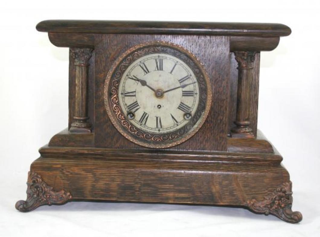 """Pequegnat """"Berlin"""" model mantel clock - roman numeral dial and copper detail"""