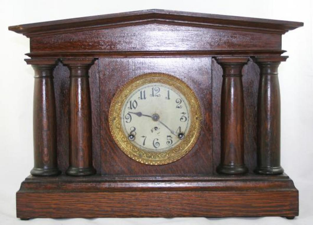 "Pequegnat ""Pantheon"" model mantel clock - gold trim"