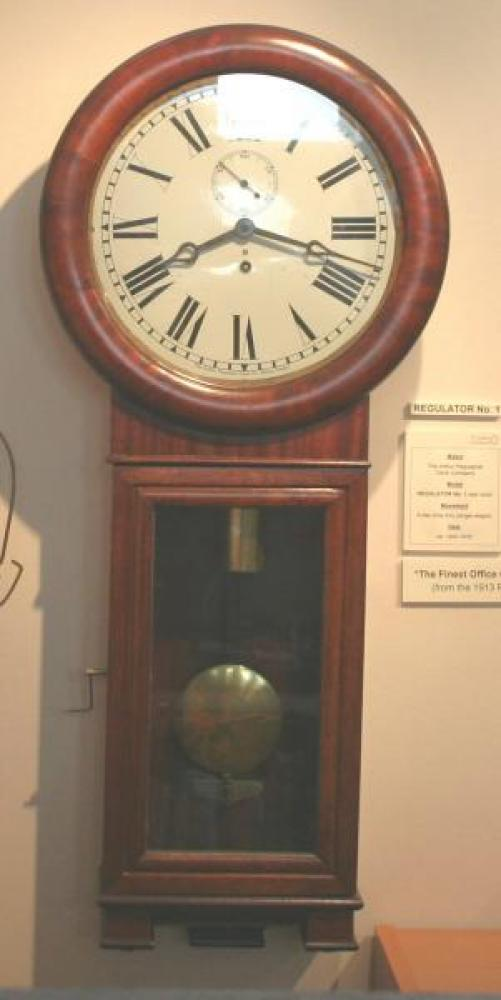 "Pequegnat ""Regulator No. 1"" model wall clock - shown here in our display"