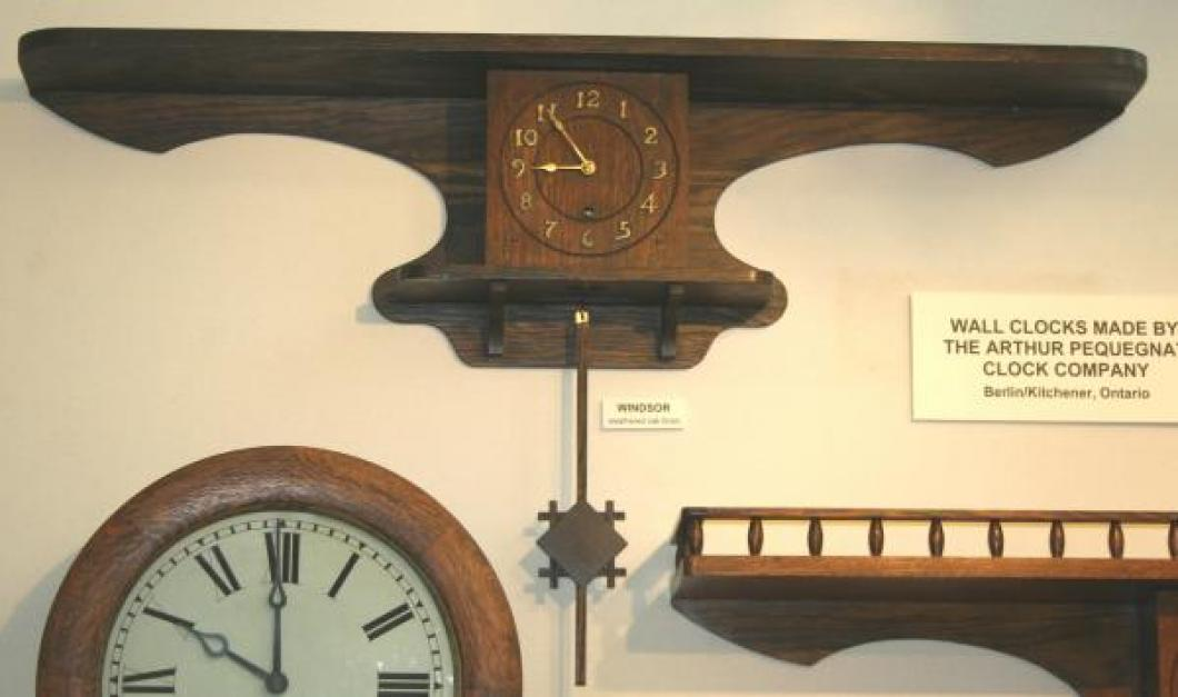 """Pequegnat """"Windsor"""" model wall clock - shown here in our display"""