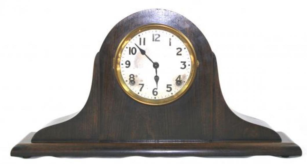 "Pequegnat ""Swan"" model mantel clock - dark finish"