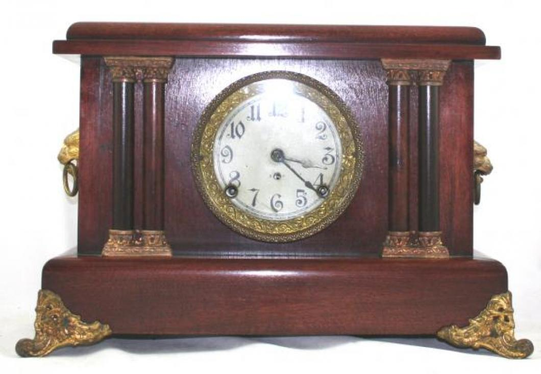 """Pequegnat """"Stratford"""" model mantel clock - red wood with gold detail"""