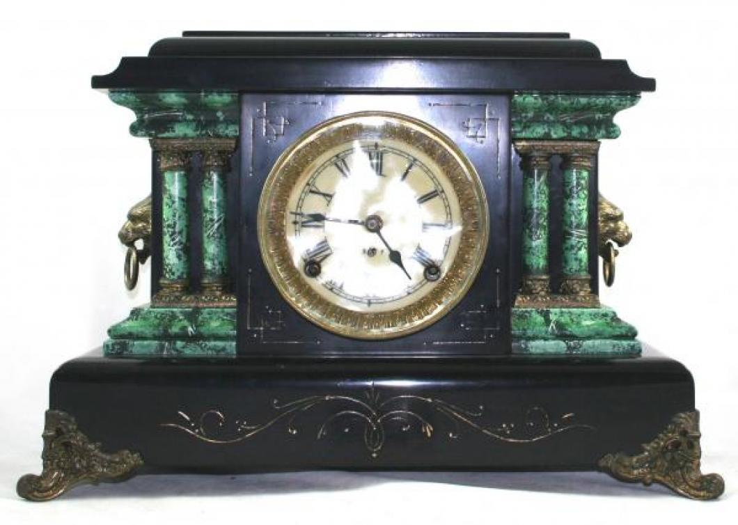 "Pequegnat ""Ontario"" model mantel clock - black with faux marble detail"