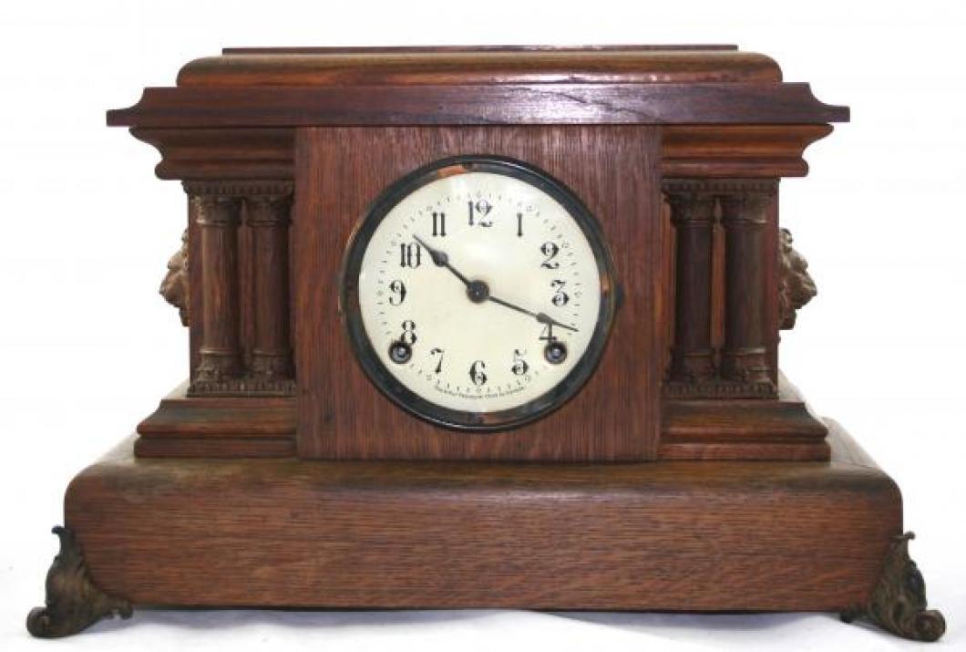 "Pequegnat ""Ontario"" model mantel clock - dark wood and detail"