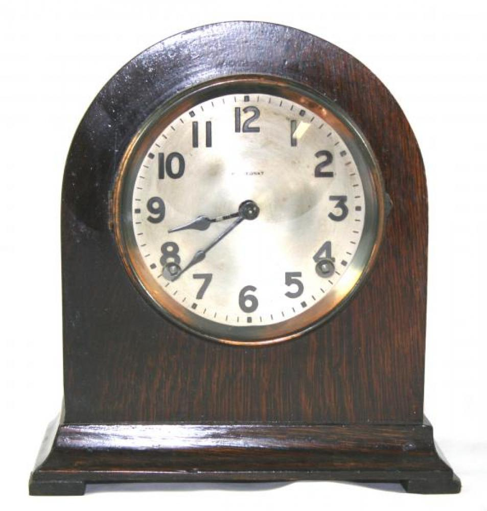 """Pequegnat """"Bedford"""" model mantel clock - metal dial"""