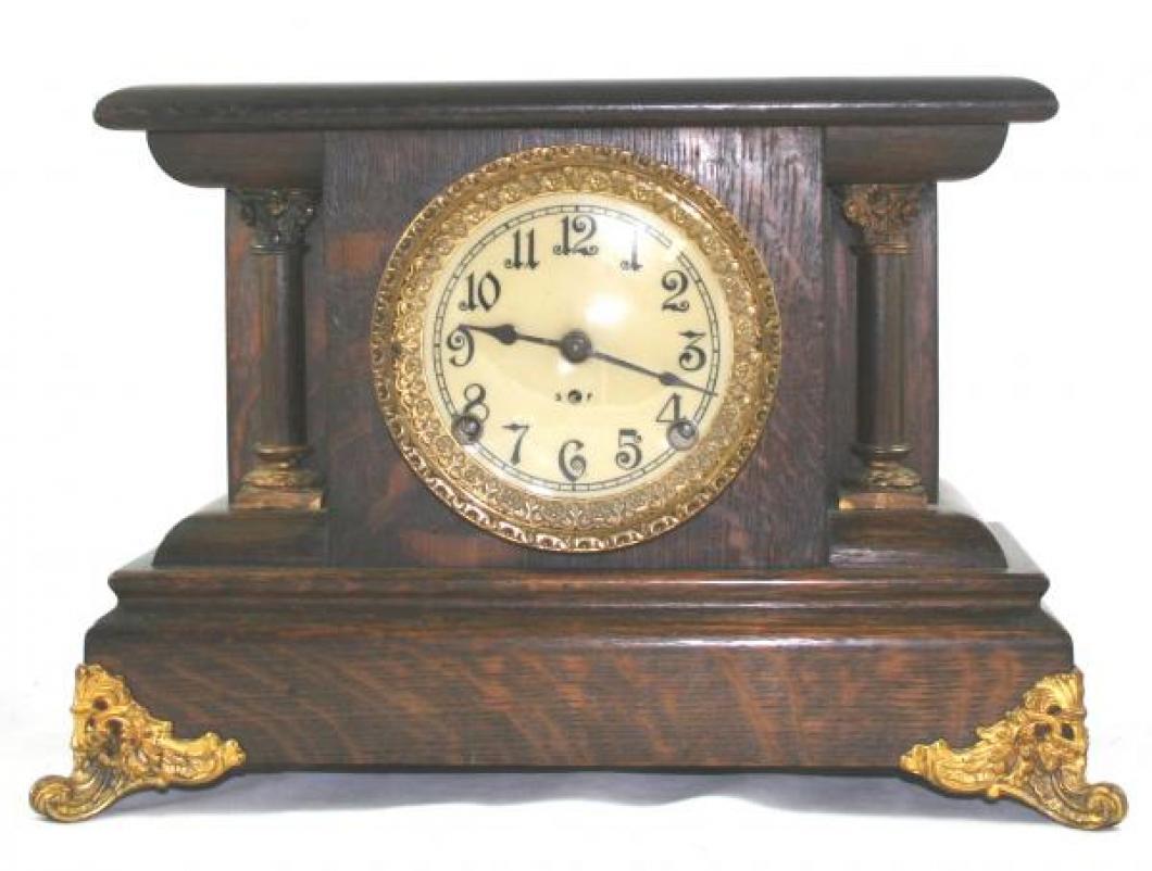 """Pequegnat """"Berlin"""" model mantel clock - gold detail"""