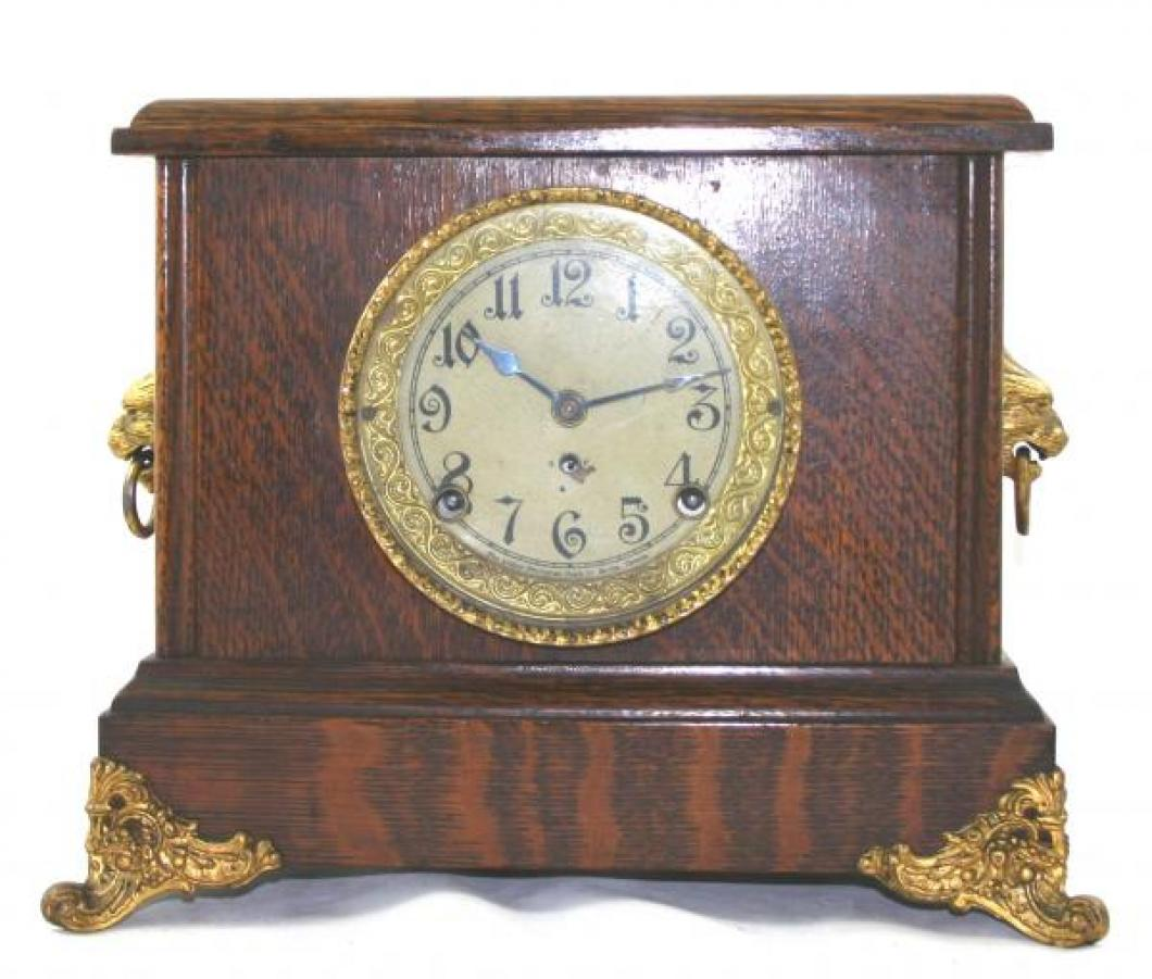 "Pequegnat ""Barrie"" model mantel clock - gold framed face"