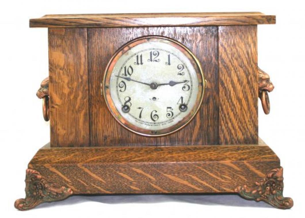 """Pequegnat """"Simcoe"""" model mantel clock - copper detail"""