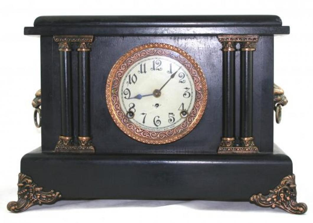 "Pequegnat ""Stratford"" model mantel clock - black finish with copper detail"