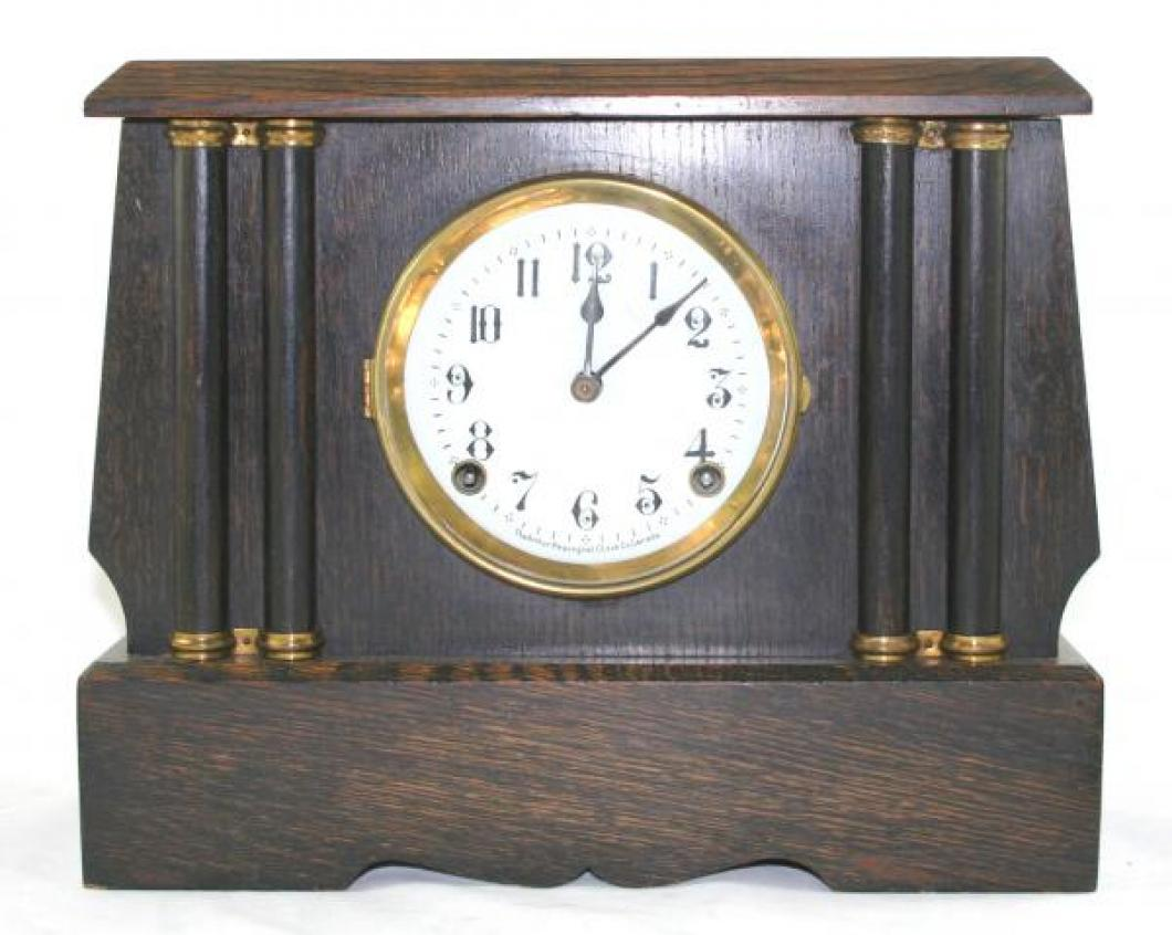 "Pequegnat ""Peterboro"" model mantel clock - narrow columns"