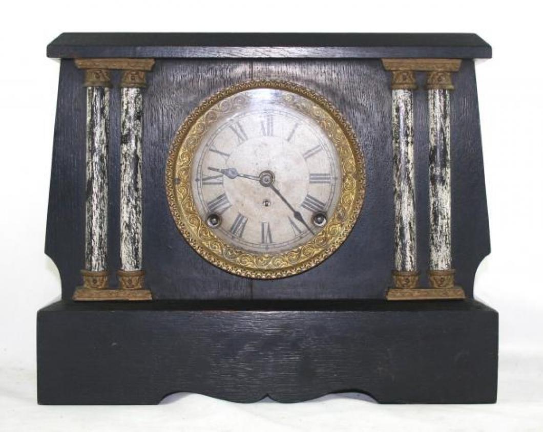 "Pequegnat ""Peterboro"" model mantel clock - black finish"