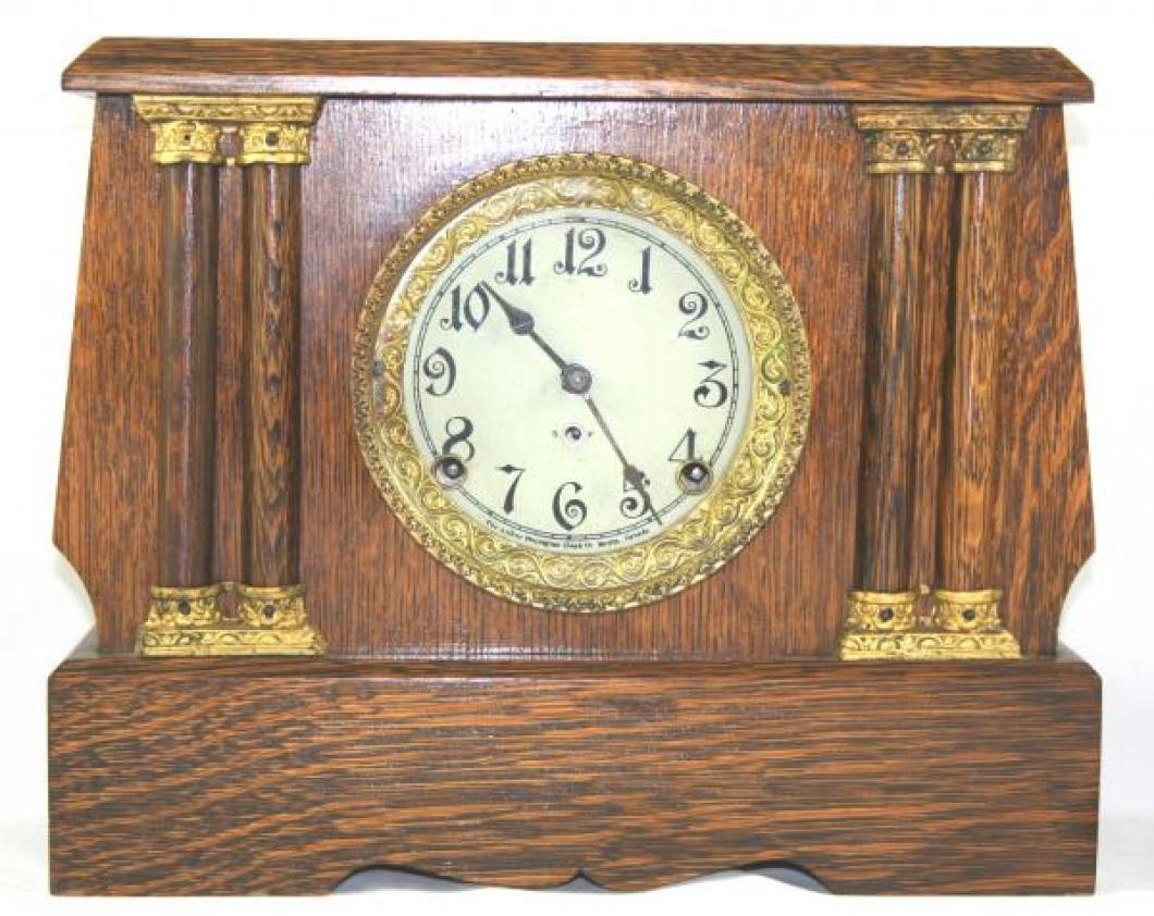 "Pequegnat ""Peterboro"" model mantel clock - gold detail"