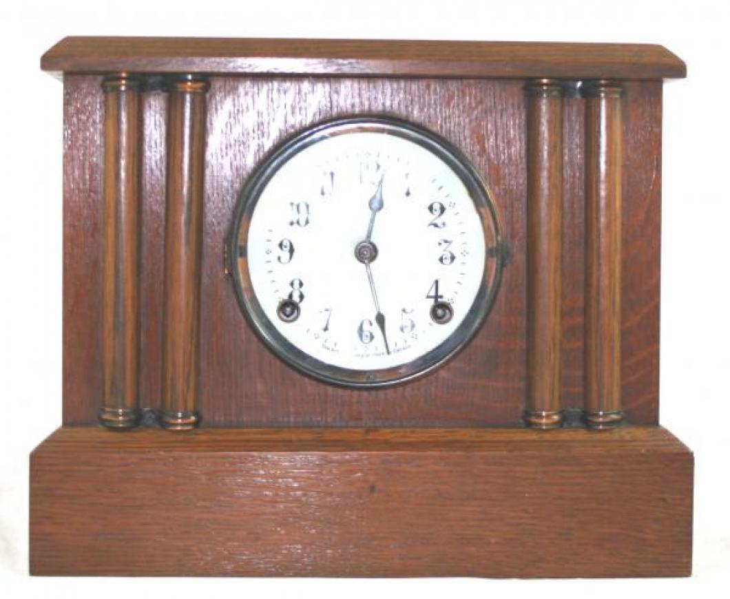 """Pequegnat """"Peterboro"""" model mantel clock - narrow columns"""