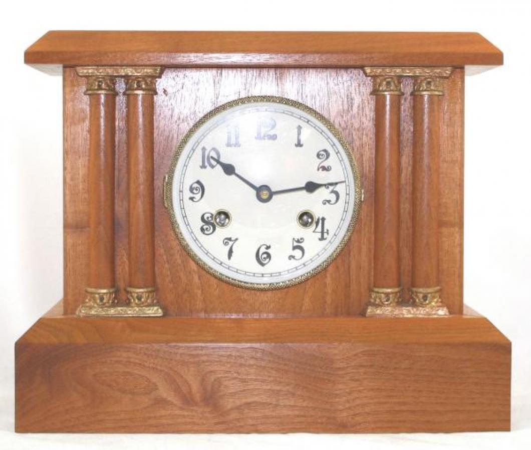 "Pequegnat ""Peterboro"" model mantel clock - narrow columns with gold detail"