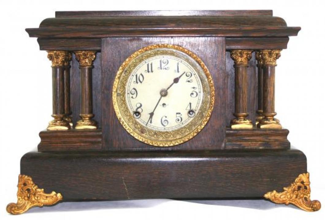"""Pequegnat """"Grecian"""" model mantel clock - gold detail"""