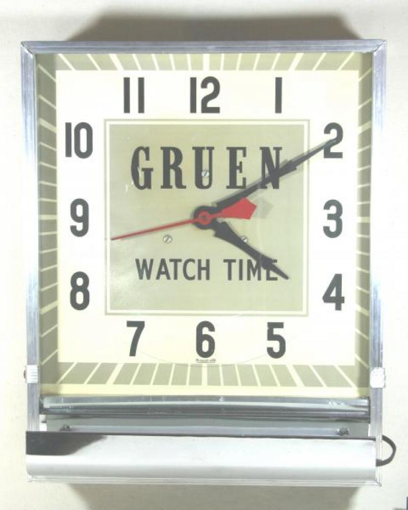Advertising clock made by the Forestville Clock Co. in Toronto, ON, advertising Gruen watches