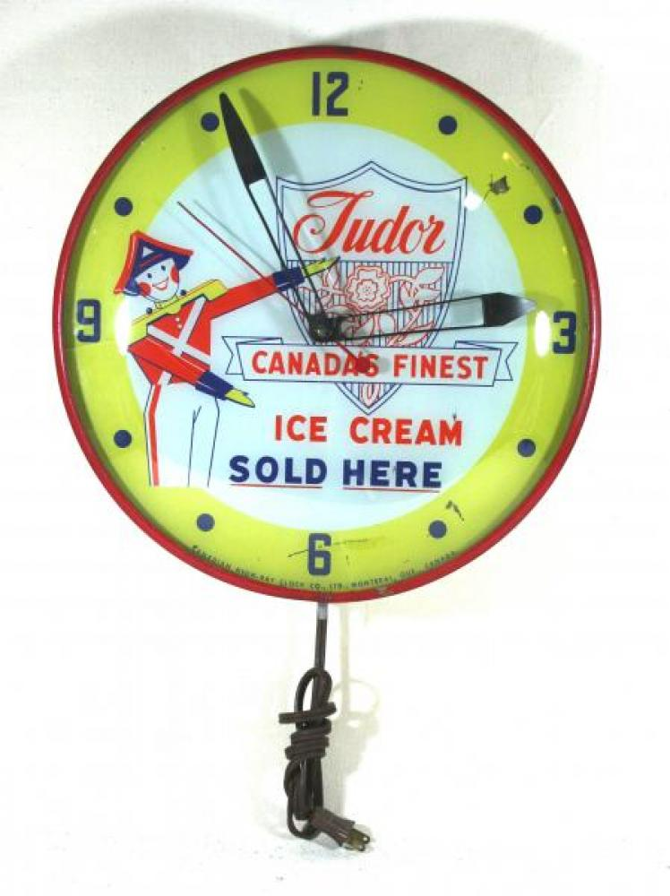 Advertising clock made by the Canadian Neon-Ray Clock Co., in Montreal, QC, advertising Tudor Ice Cream