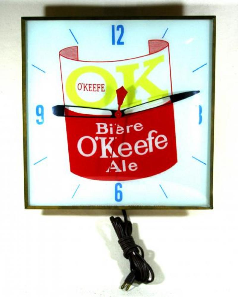 Advertising clock made by the Canadian Neon-Ray Clock Co., Montreal, QC, advertising O'Keefe Beer