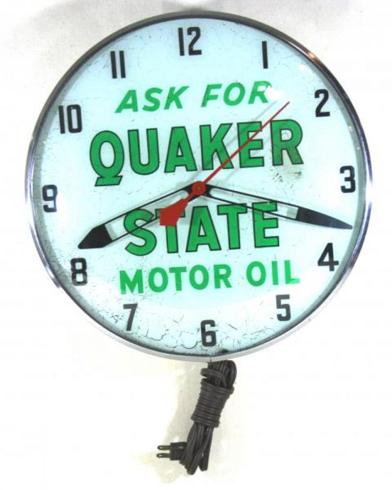 Advertising clock made by the Canadian Neon-Ray Clock Co., Montreal, QC, advertising Quaker State Motor Oil