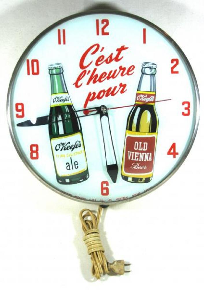 Advertising clock made by the Canadian Neon-Ray Clock Co., Montreal, QC, advertising O'Keefe's Beer