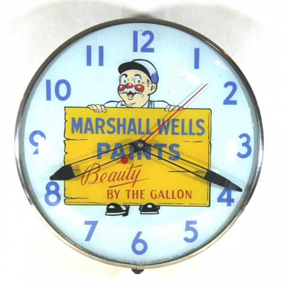 Advertising clock made by the Canadian Neon-Ray Clock Co. in Montreal, QC, advertising Marshall Wells Paints