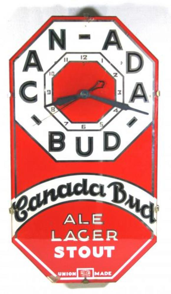 Advertising clock advertising Canada Bud beer