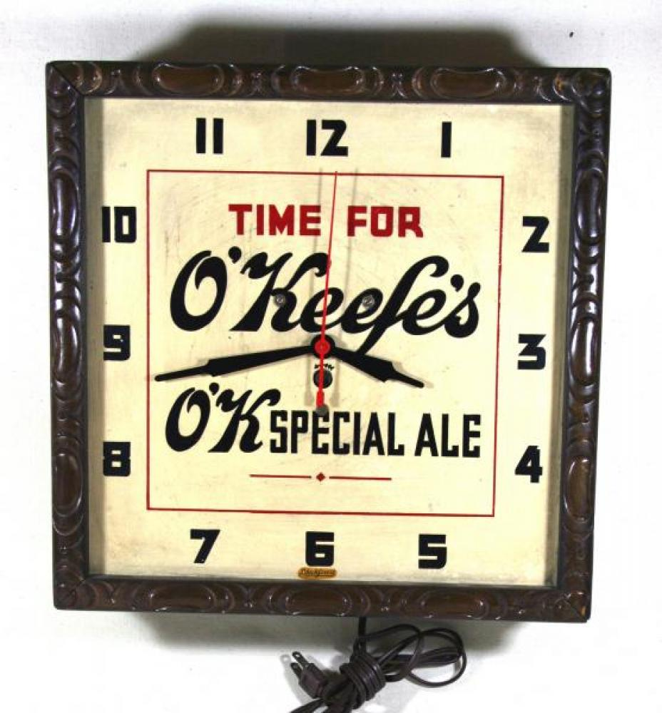 Advertising clock made by the Blackforest Clock Co. in Toronto, ON, advertising O'Keefe's Ale