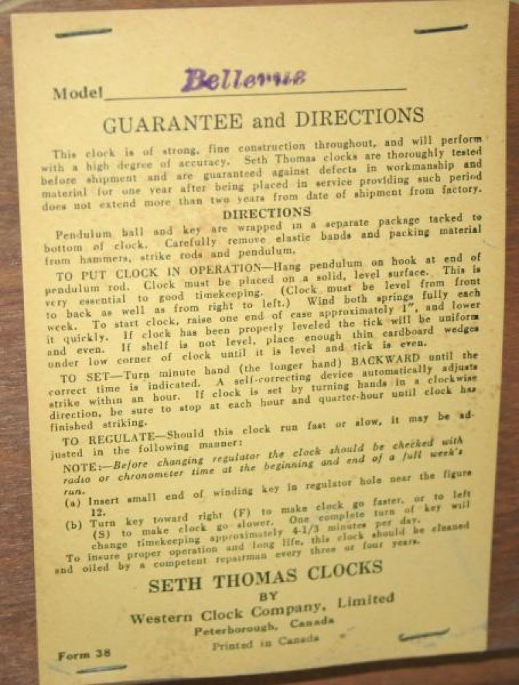 Label for Seth Thomas BELLEVUE mantel clock