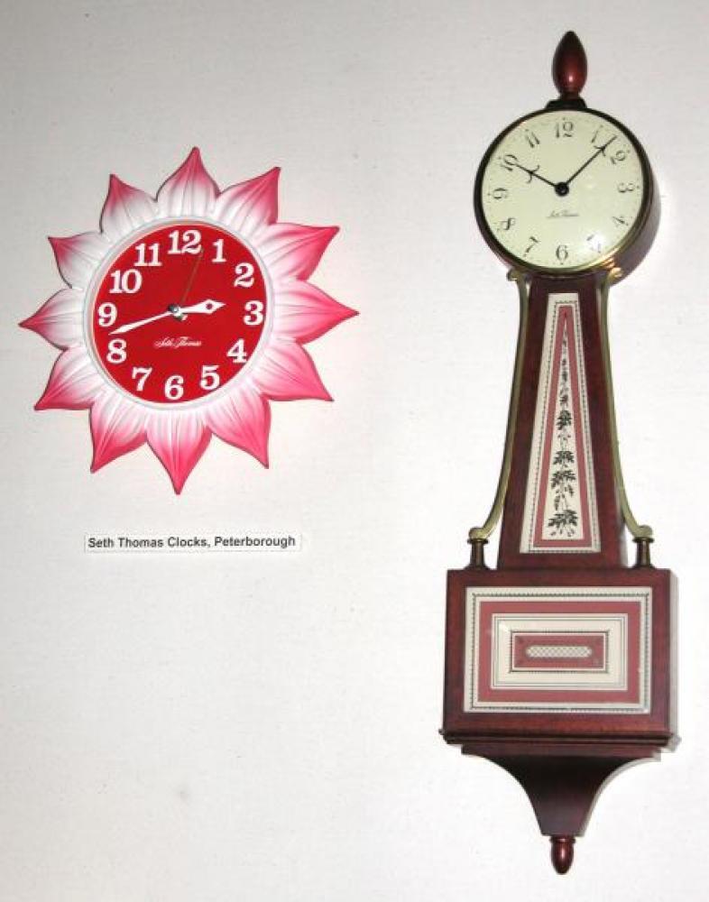 Seth Thomas red flower & windup banjo wall clocks