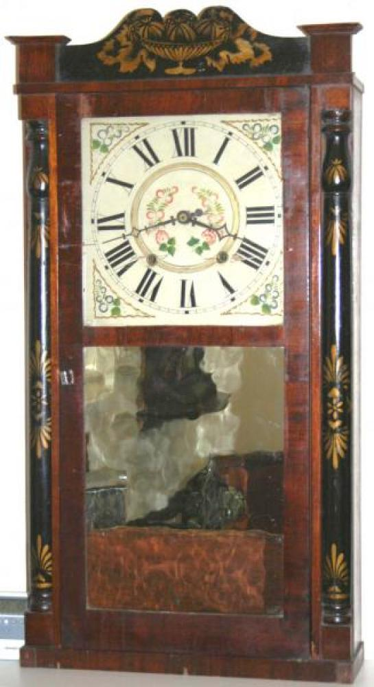 Butler & Henderson, Annapolis Nova Scotia 1830s half column & splat mantel clock (mirror in door, wood gears)