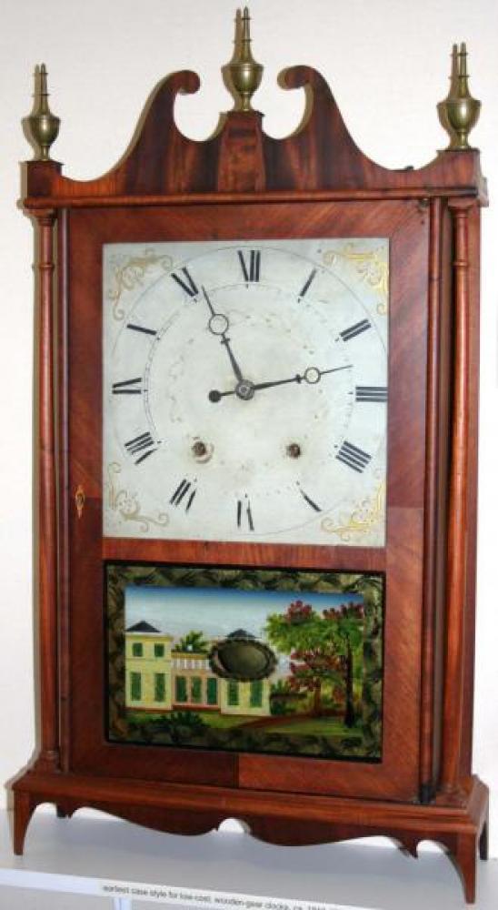 Butler & Henderson, Clement Nova Scotia late 1820s pillar & scroll mantel clock (wood gears)