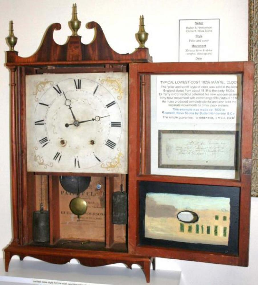 Butler & Henderson, Clement Nova Scotia late 1820s pillar & scroll mantel clock (door open)