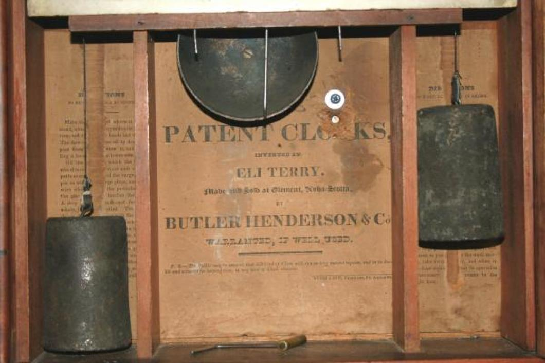 Butler & Henderson, Clement N.S. late 1820s pillar & scroll mantel clock LABEL
