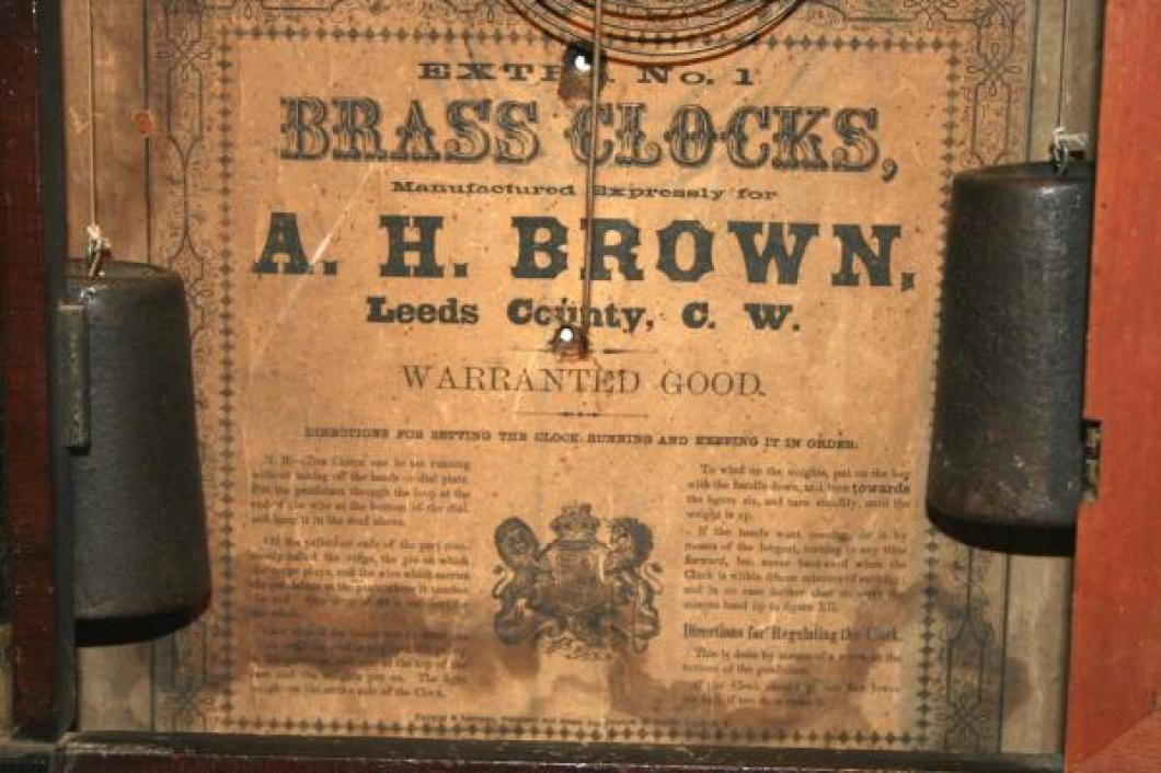A.H. Brown, Leeds County, Canada West 1856 - 1867 Half-column mantel clock (label)