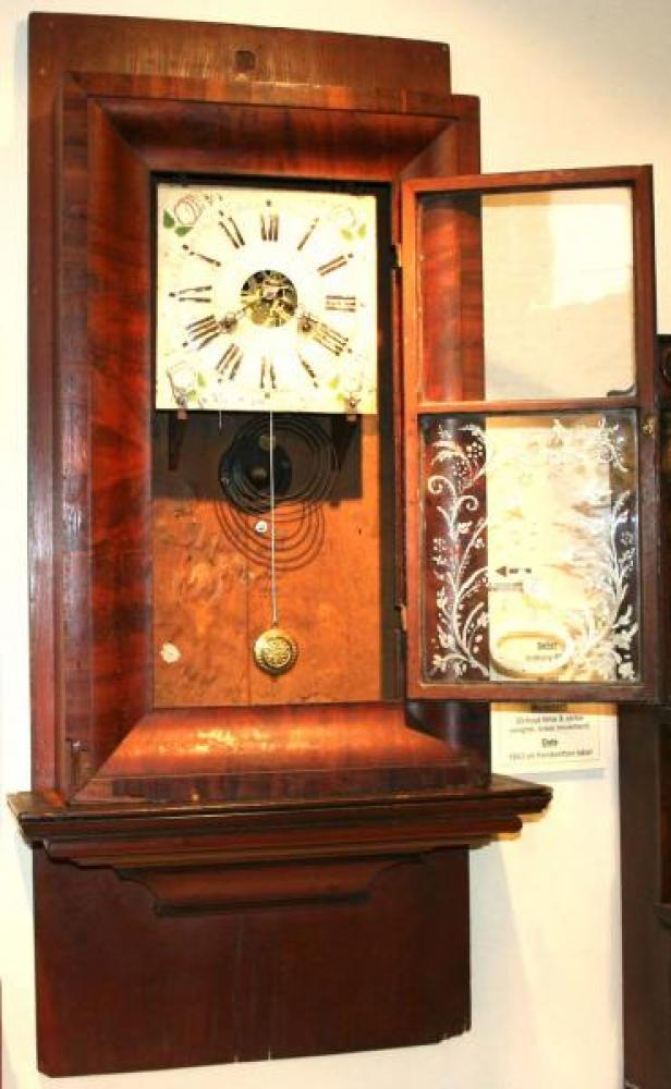 Anthony Pfaff, Vaughan Township, C.W. 1843 Ogee-style mantel clock (brass movement) (cover open)
