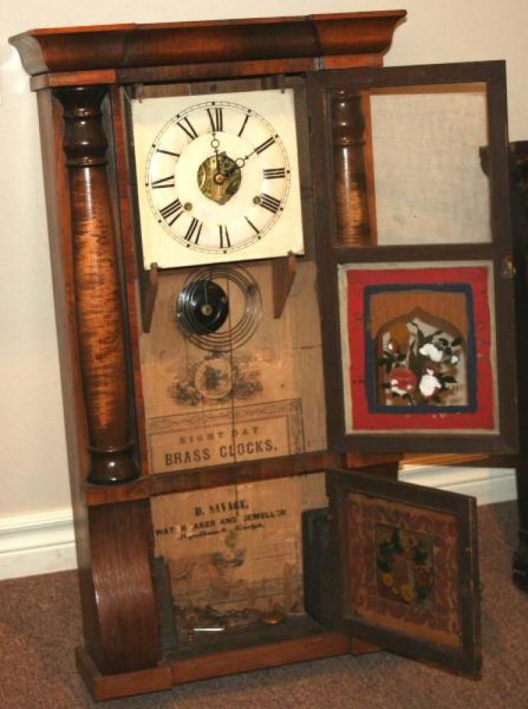 D. Savage, Guelph, Canada West 1848 - mid 1850s Column & cornice mantel clock (cover open)