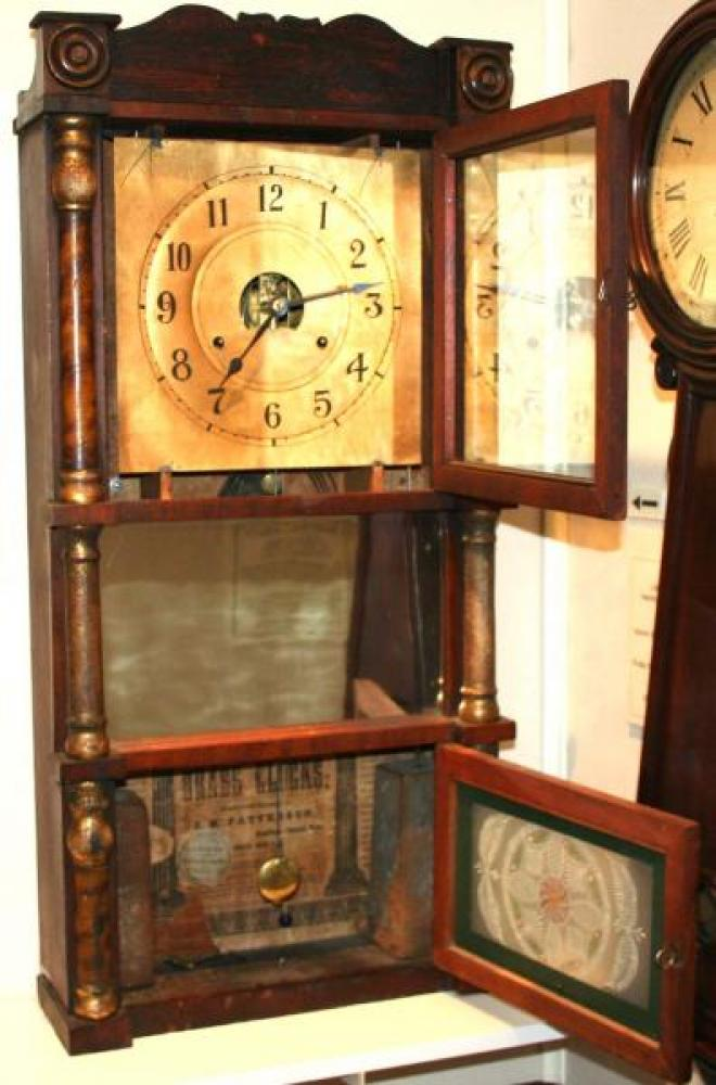 J.M. Patterson, Hamilton, Canada West early-mid 1850s column &cornice mantel clock (cover open)