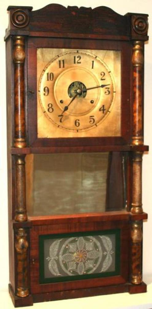 J.M. Patterson, Hamilton, Canada West early-mid 1850s column & cornice mantel clock (old mirror in centre, replacement lower tablet)