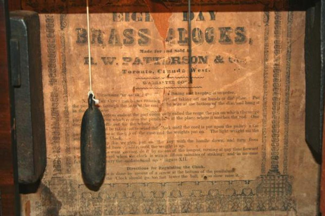 R.W. Patterson, Toronto, Canada West 1850 - 1860 column & cornice mantel clock (label)