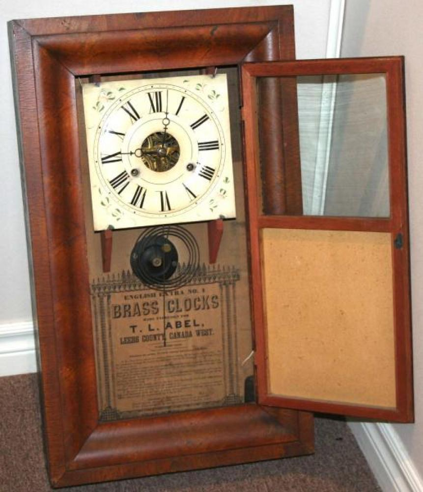 T.L. Abel, Leeds County, Canada West 1848 - 1851 Ogee-style mantel clock (cover open)
