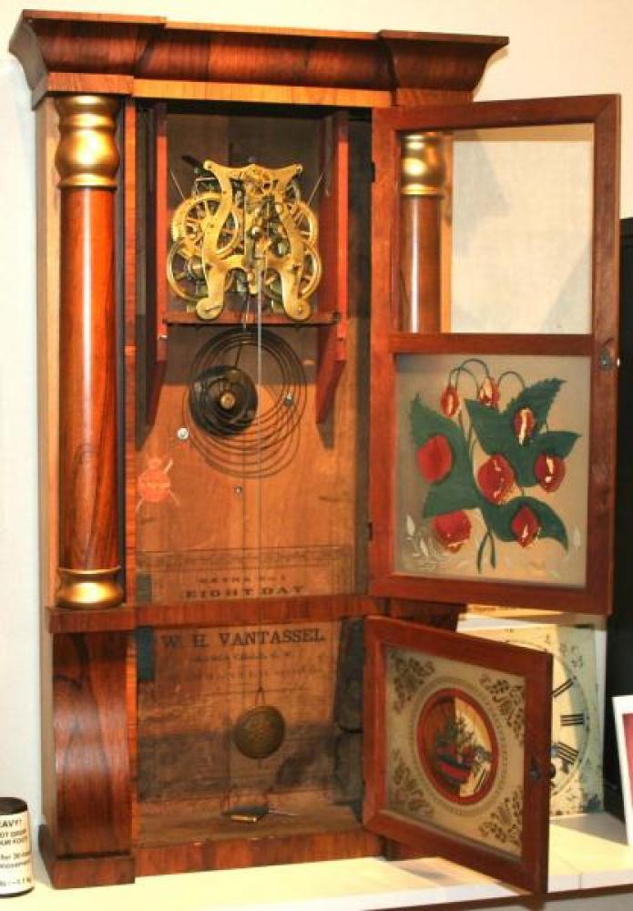 W.H. Van Tassel, Brockville, Canada West 1850s - 1860s column & cornice mantel clock (cover open)