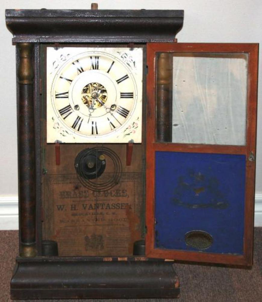W.H. Van Tassel, Brockville, Canada West 1850s - 1860s Half-column mantel clock (cover open)