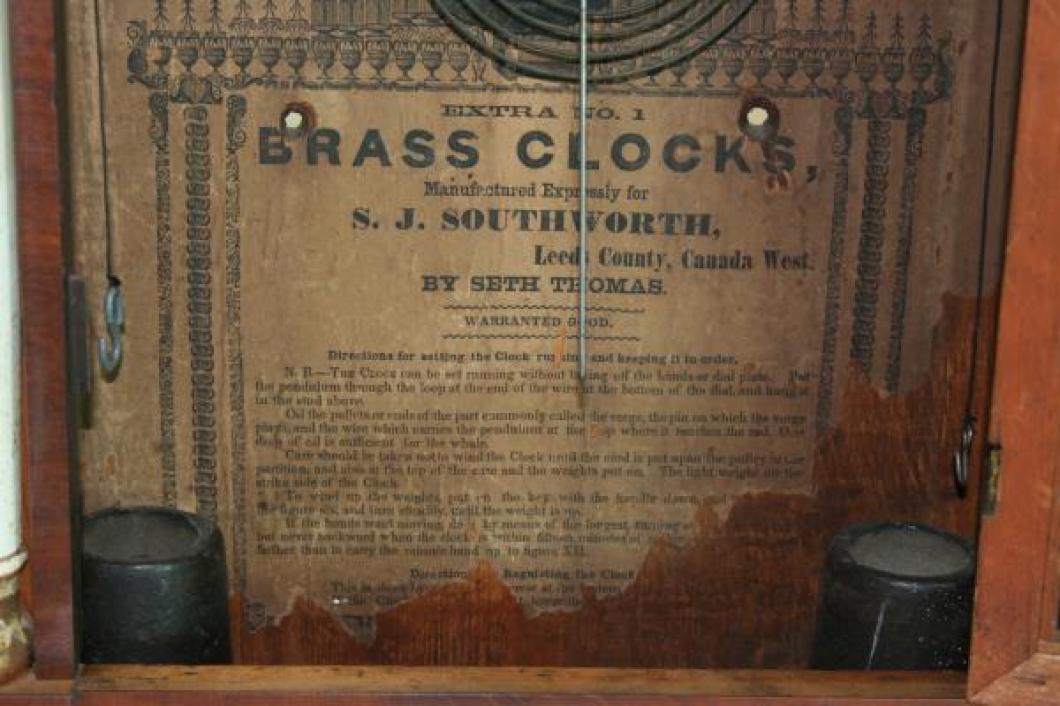 1830s S.J. Southworth, Leeds County, CW Seth Thomas clock (label)