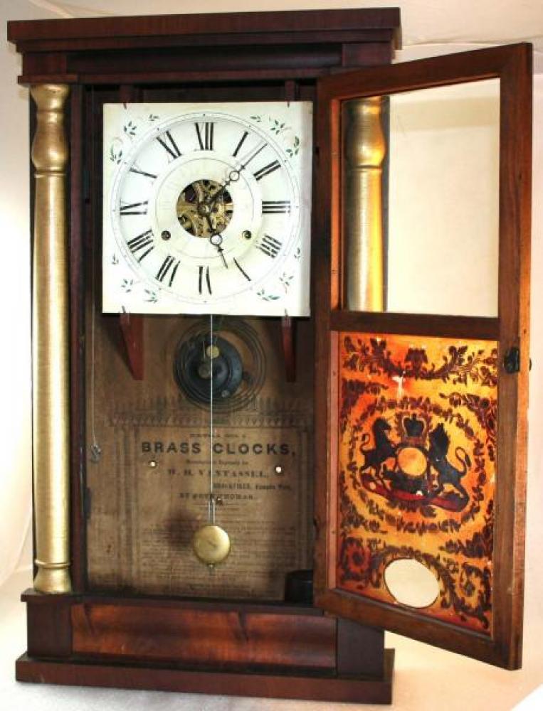 1830s W.H. Vantassel, Leeds County, C.W., Seth Thomas clock (cover open)